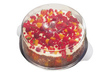 Plat à gâteau inox avec cloche transparente