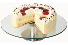 Guéridon à gâteaux plateau verre sur pied tournant