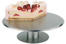 Guéridon à gâteaux inox sur pied avec plateau tournant