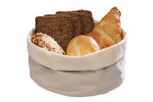 Corbeille à pain en coton sable / blanc