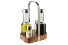 Ménagère sel poivre huile vinaigre Wood