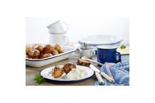 Assiette métal émaillé blanc bordure bleue
