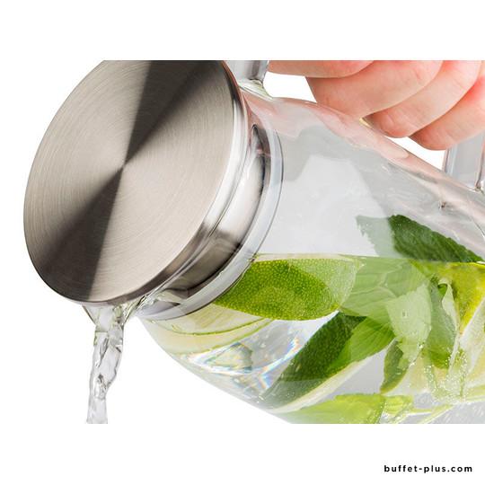 Carafe en verre couvercle inox filtrant