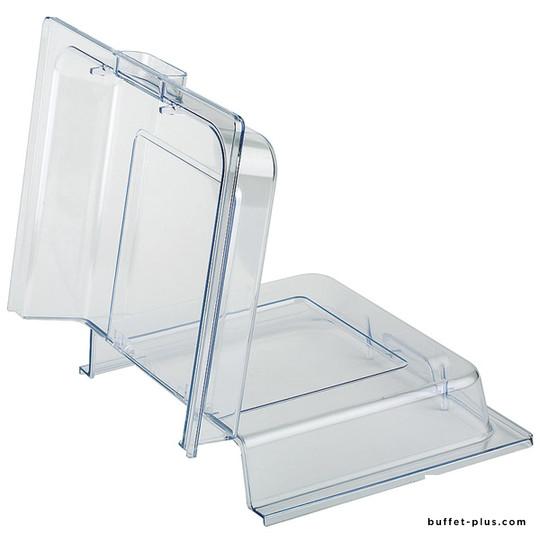 Cloche / couvercle transparent pliable pour chafing dish, plateau, bac ou corbeille GN 1/1