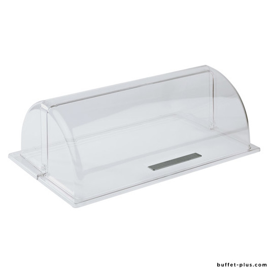 Cloche Roll-top transparente GN 1/1 bouton chromé