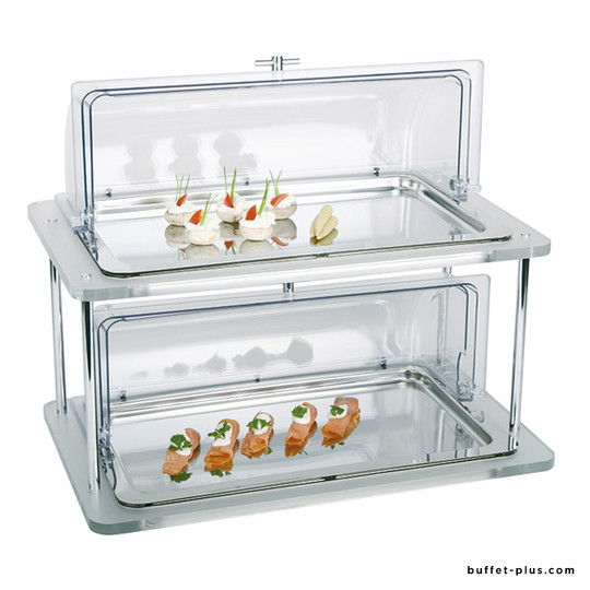 Buffet froid rectangle acrylique 2 niveaux Doppeldecker