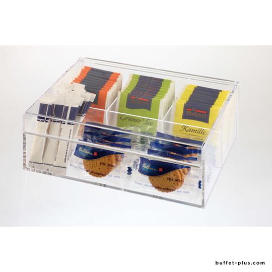Boîte à thé transparente 4 compartiments