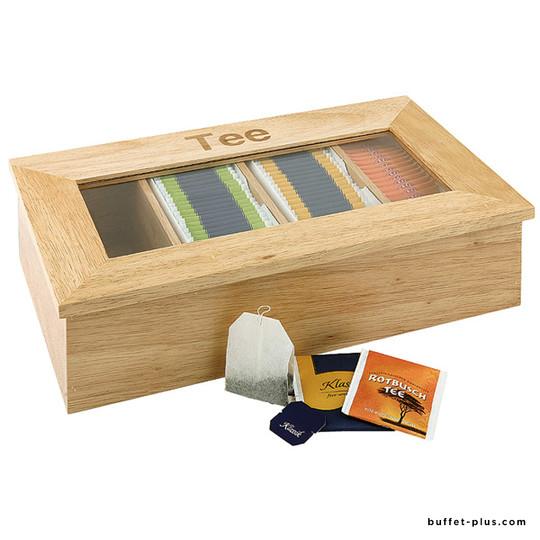Boîte à thé bois 4 compartiments