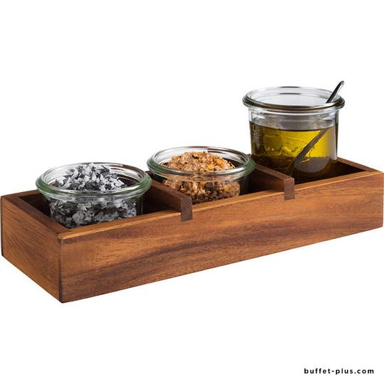 Caddy de table acacia 3 compartiments