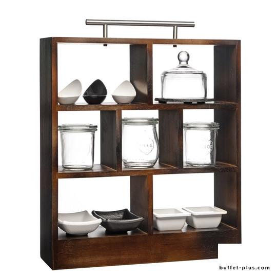 Etagère bois avec anse 3 niveaux 7 compartiments