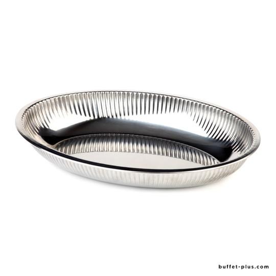 Corbeille ovale inox bord roulé